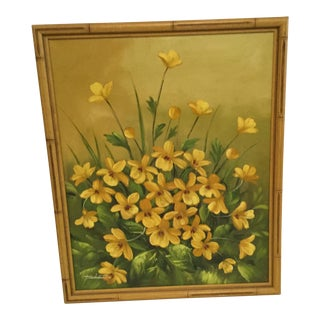 1970s Vintage Piedmont Framed Floral Painting For Sale