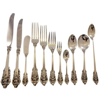 Grande Baroque by Wallace Sterling Silver Flatware Service 12 Set 145 Pcs Dinner For Sale