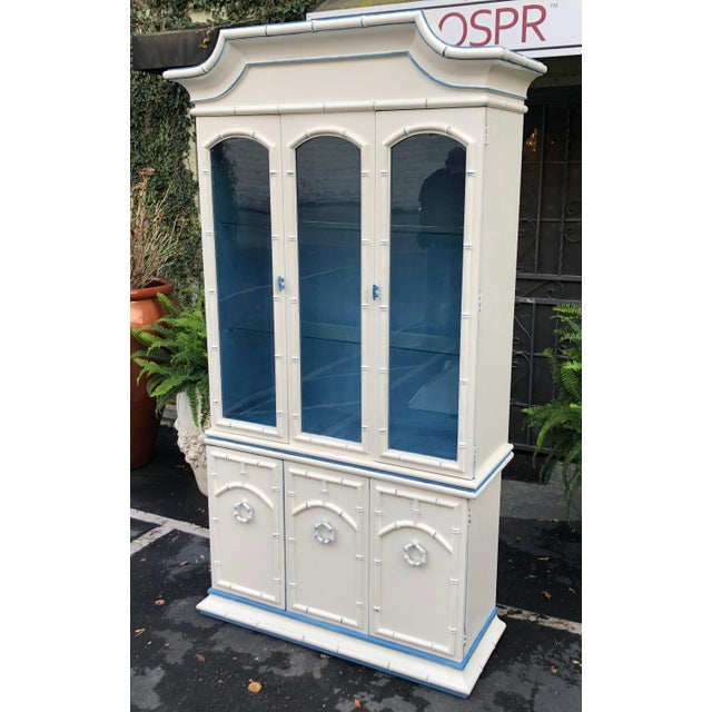 Wood Hollywood Regency Bamboo Pagoda China Cabinet For Sale - Image 7 of 7
