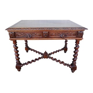 Barley Twist Jacobean Style Carved Oak Desk Table
