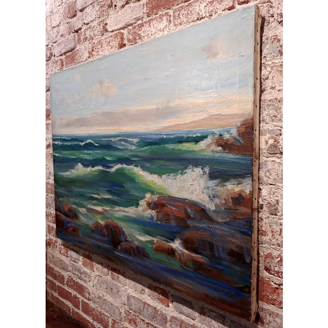Canvas James Arthur Merriam California Rocky Seascape Oil Painting For Sale - Image 7 of 9