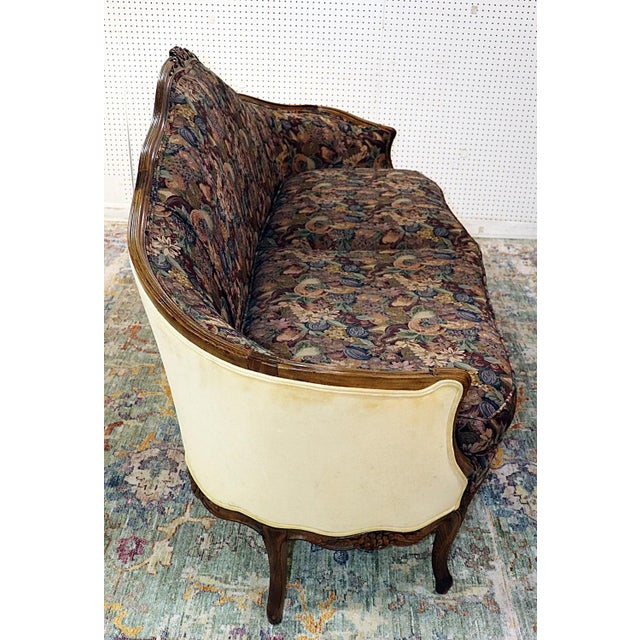 Brown Louis XV Style Carved Walnut Tapestry Sofa For Sale - Image 8 of 13