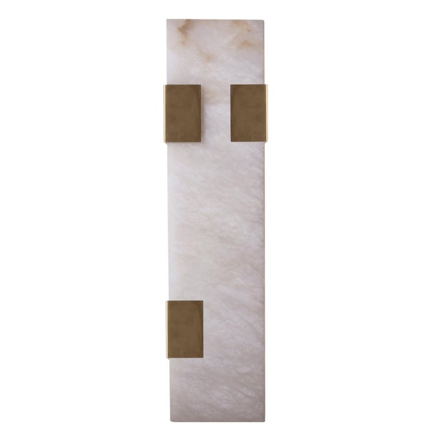 2010s Modern Contemporary 003-3c Sconce in Brass and Alabaster by Orphan Work For Sale - Image 5 of 5
