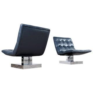 Leather & Chrome Milo Baughman Chairs - A Pair
