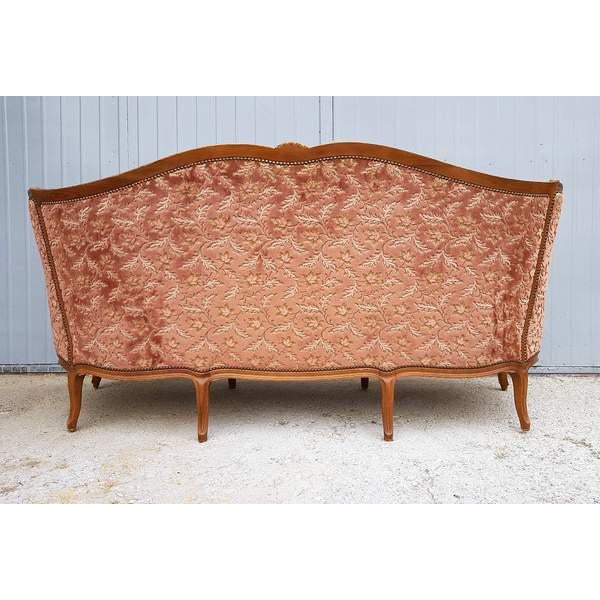 Textile Pink Three Piece French Antique Louis XV Style Carved Parlor Suite Sofa Canape Loveseat For Sale - Image 7 of 13