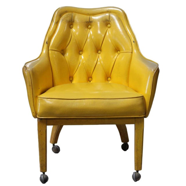 Lemon Yellow Vinyl Accent Chair - Image 2 of 10