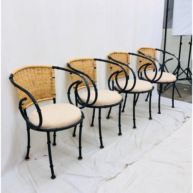 Adirondack Vintage Metal & Wicker Bistro Chairs For Sale - Image 3 of 13
