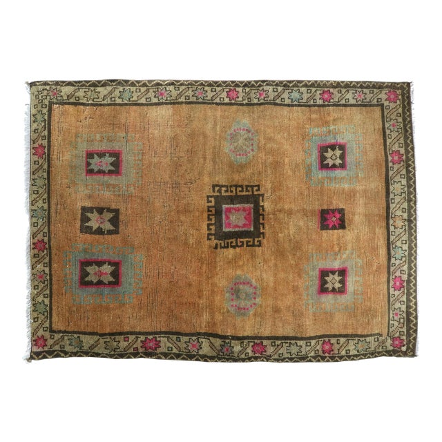 "Vintage Turkish Kilim Rug-4'3'x5'10"" For Sale"