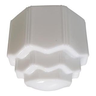 C. 1930 American Art Deco Milk Glass Three Tier Skyscraper Pendant Light Fixture For Sale