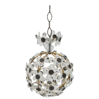 French Crystal Flower Ball Chandelier For Sale
