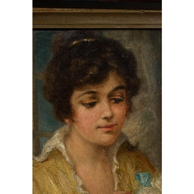 French Victorian Lady and Poodle Portrait For Sale - Image 4 of 6