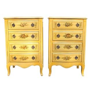 Yellow Painted Decorated Nightstands - A Pair