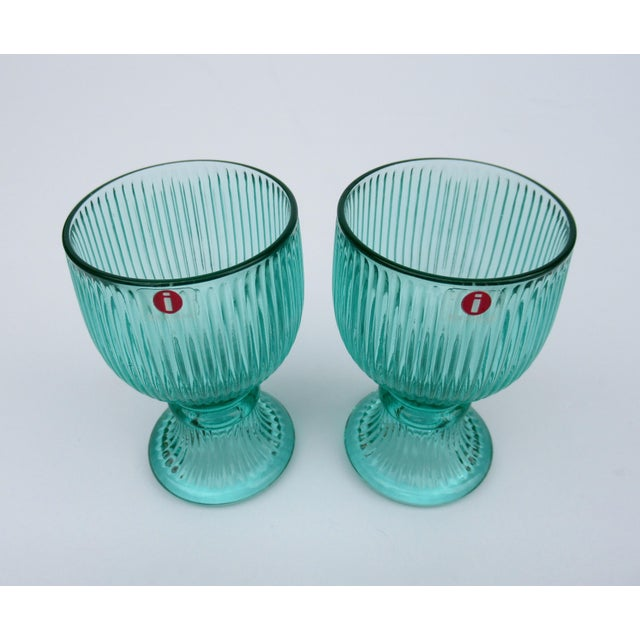 1970s Vintage l'Ittala Crystal Round Fluted Mint Cordial Glasses - Set of 2 For Sale - Image 5 of 13