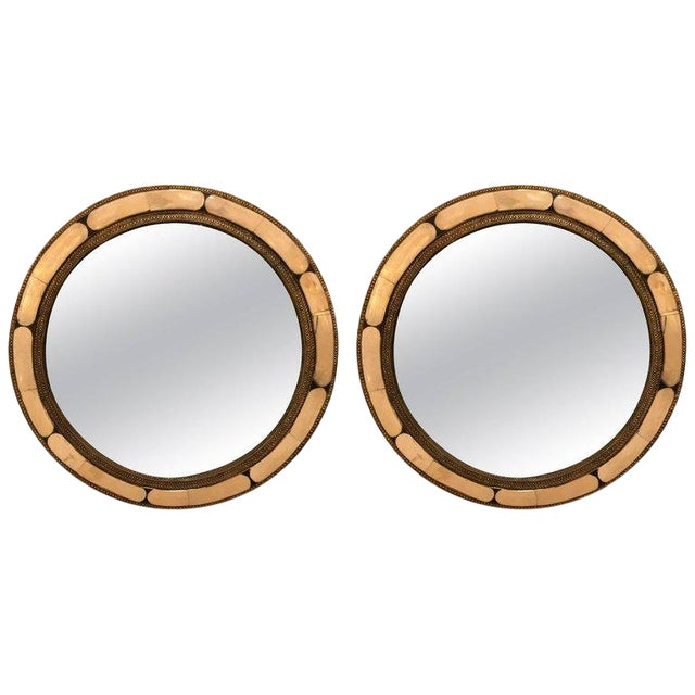 Moroccan White Round Camel Bone Mirrors - a Pair For Sale