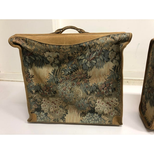 American Vintage 3 Piece Tapestry Canvas & Leather Luggage Set by the French Company For Sale - Image 3 of 13