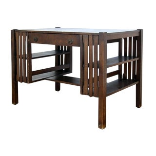 20th Century Mission Tiger Oak Writing Desk For Sale