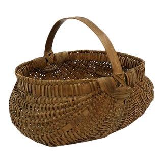 Antique Handwoven New England Indigenous Basket For Sale