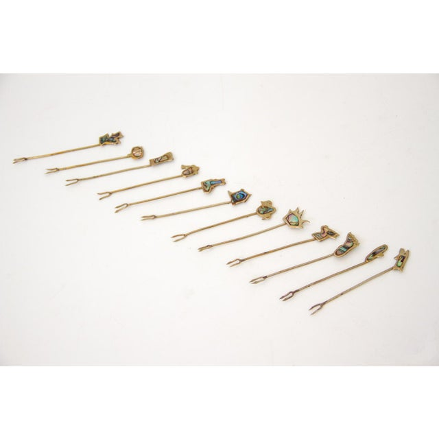 Sterling and Abalone Cocktail Forks - Set of 11 For Sale - Image 9 of 9