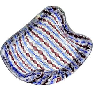 Archimede Seguso Murano Blue Zanfirico Latticino Ribbons Italian Art Glass Bowl For Sale