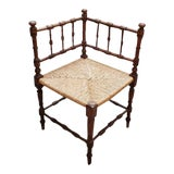 Image of Antique Spindle Back Child's Corner Chair With Rush Seat 19th C. For Sale