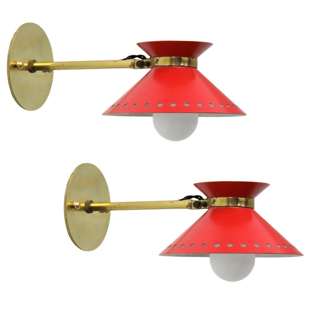 Pair of Red Arlus Wall Lights, 1950s For Sale