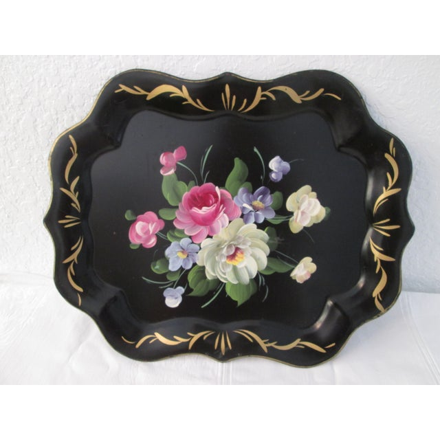 Vintage Large Tole Floral Tray - Image 2 of 7