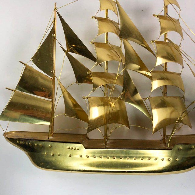 Vintage Mid-Century Brass Ship Figurine For Sale - Image 9 of 10