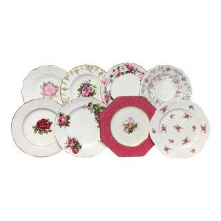 Vintage Pink Mixed Salad/Dessert Plates Set of 8 For Sale