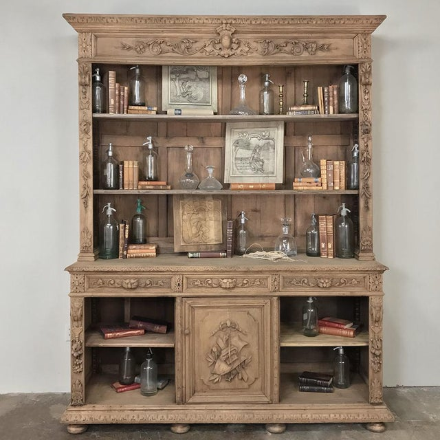 Wood 19th Century French Renaissance Stripped Oak Bookcase For Sale - Image 7 of 13