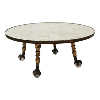 Hollywood Regency Round Mirror Coffee Table For Sale