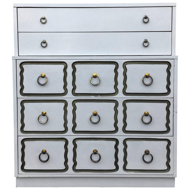 Dorothy Draper Espana Style Hollywood Regency Tall Chest of Drawers For Sale
