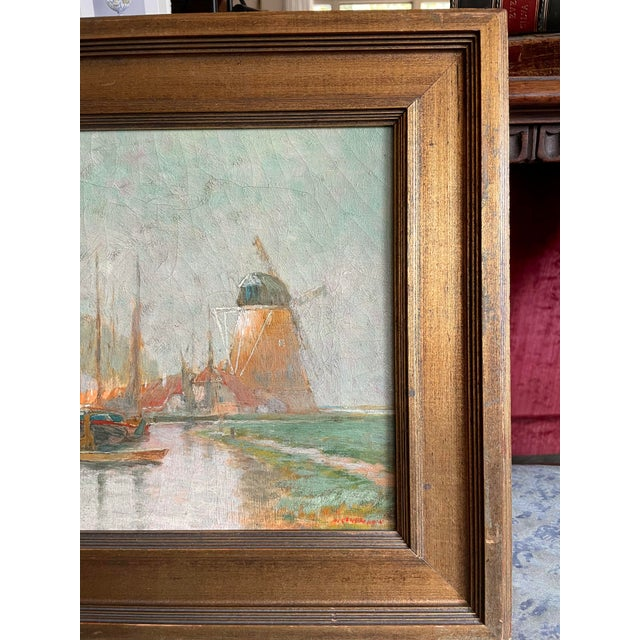 Sky Blue 19th Century Dutch Oil Painting of a Canal Scene in the Polders, Framed For Sale - Image 8 of 11