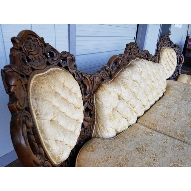 Vintage Victorian Carved Wood Sofa For Sale - Image 5 of 10