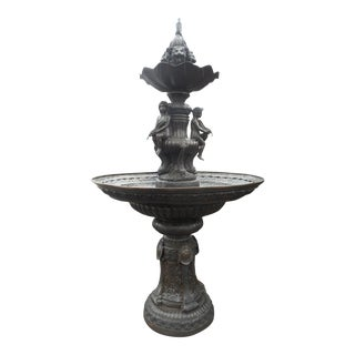Large Two-Tier Bronze Fountain With Cherubs and Fish For Sale