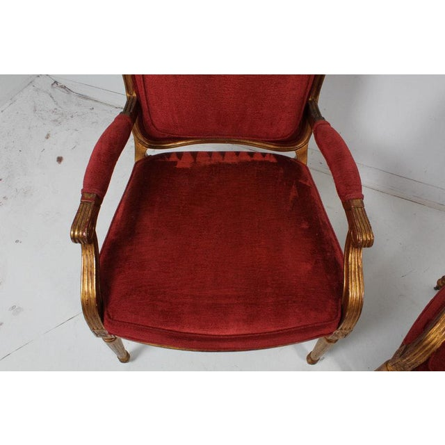 Hollywood Regency Red Velvet Bergere Armchairs Dining Chairs - Set of 4 For Sale - Image 4 of 13