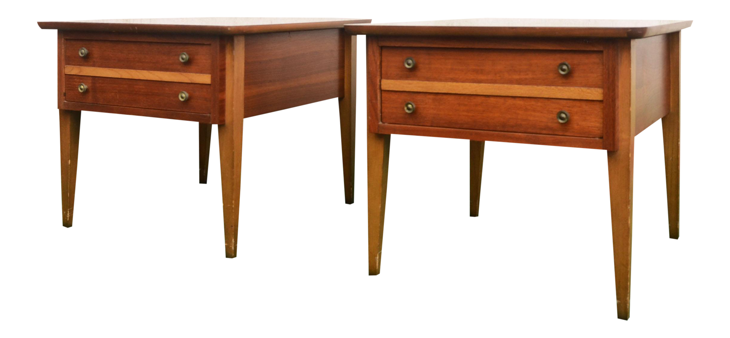 Mid Century Modern Lane Furniture Two Tone Wood End Tables   A Pair