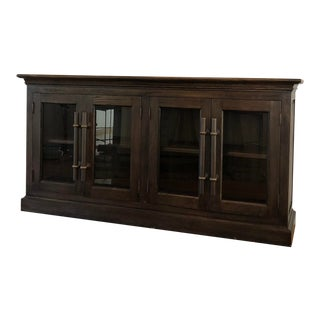 Restoration Hardware English Brass Bar Pull Glass 4-Door Sideboard For Sale