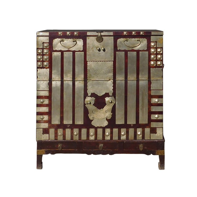 Vintage Korean Style Silver Hardware Trunk Cabinet For Sale
