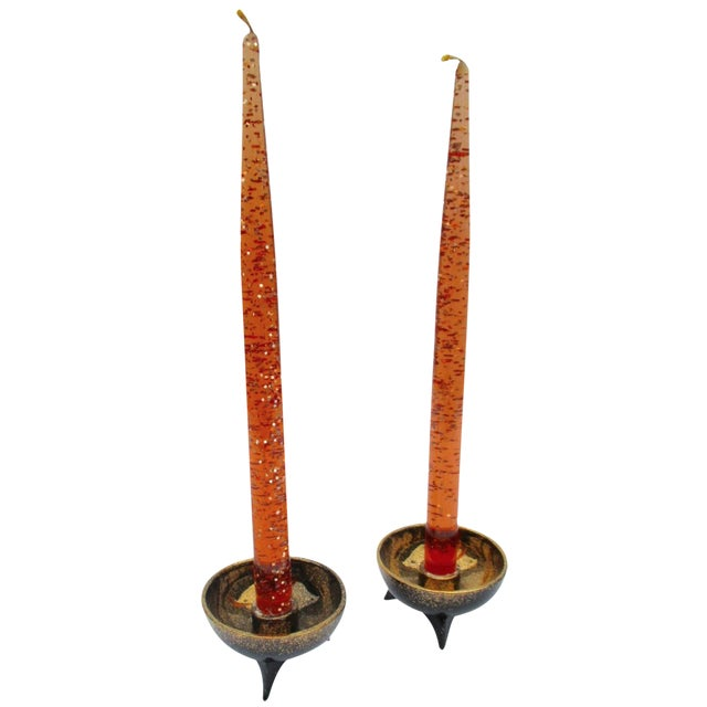 Atomic Orange Lucite Candles On Ceramic Base - A Pair - Image 1 of 6