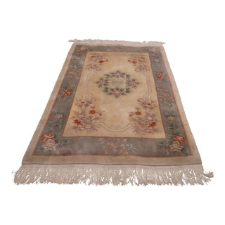 Chinese Mandrin Lotus Aubusson Thick Wool Area Rug - 3′10″ × 6′