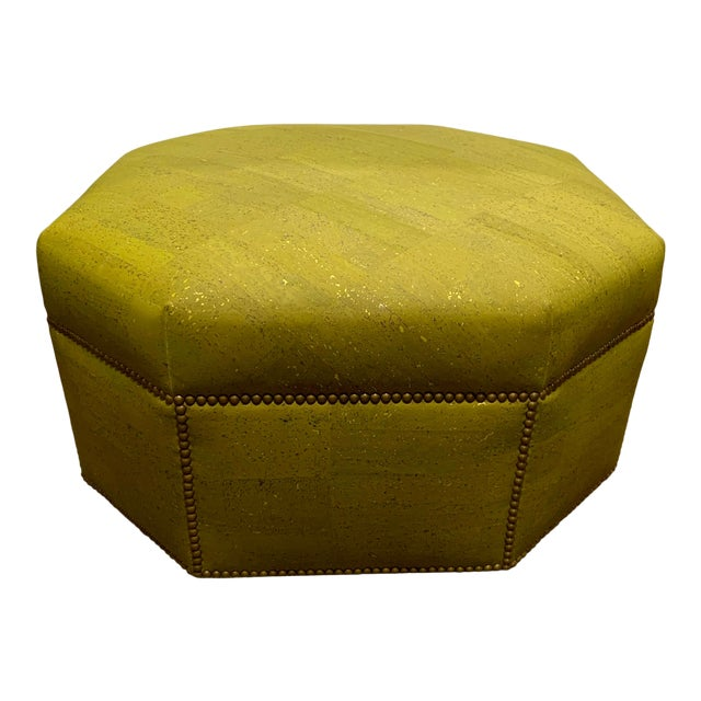 Custom Made Green and Gold Octagonal Ottoman For Sale