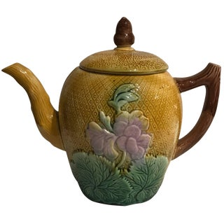 Late 19th Century Antique English Majolica Teapot For Sale