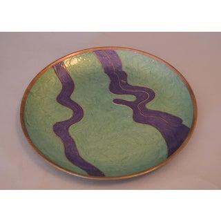 Vintage Enamel Brass Decorative Plate, Centerpiece Preview