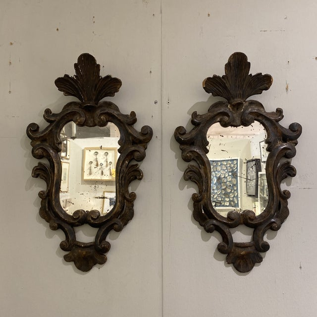 Vintage Wooden Shield Mirrors - a Pair For Sale - Image 4 of 11