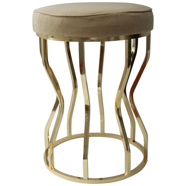 Mid-Century Hour Glass Form Round Vanity Stool in Polished Brass and Velvet Upholstery For Sale - Image 9 of 9