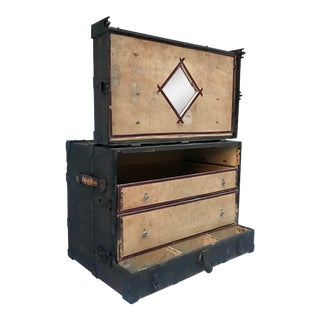 1880's f.a. Stallman Theatrical Steampunk Trunk With Mirror and Drawers For Sale