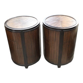 Organic Modern McGuire Barrel Tables - a Pair For Sale