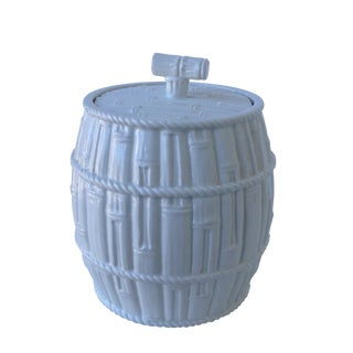 Italian Porcelain Bamboo-Style Lidded Container For Sale