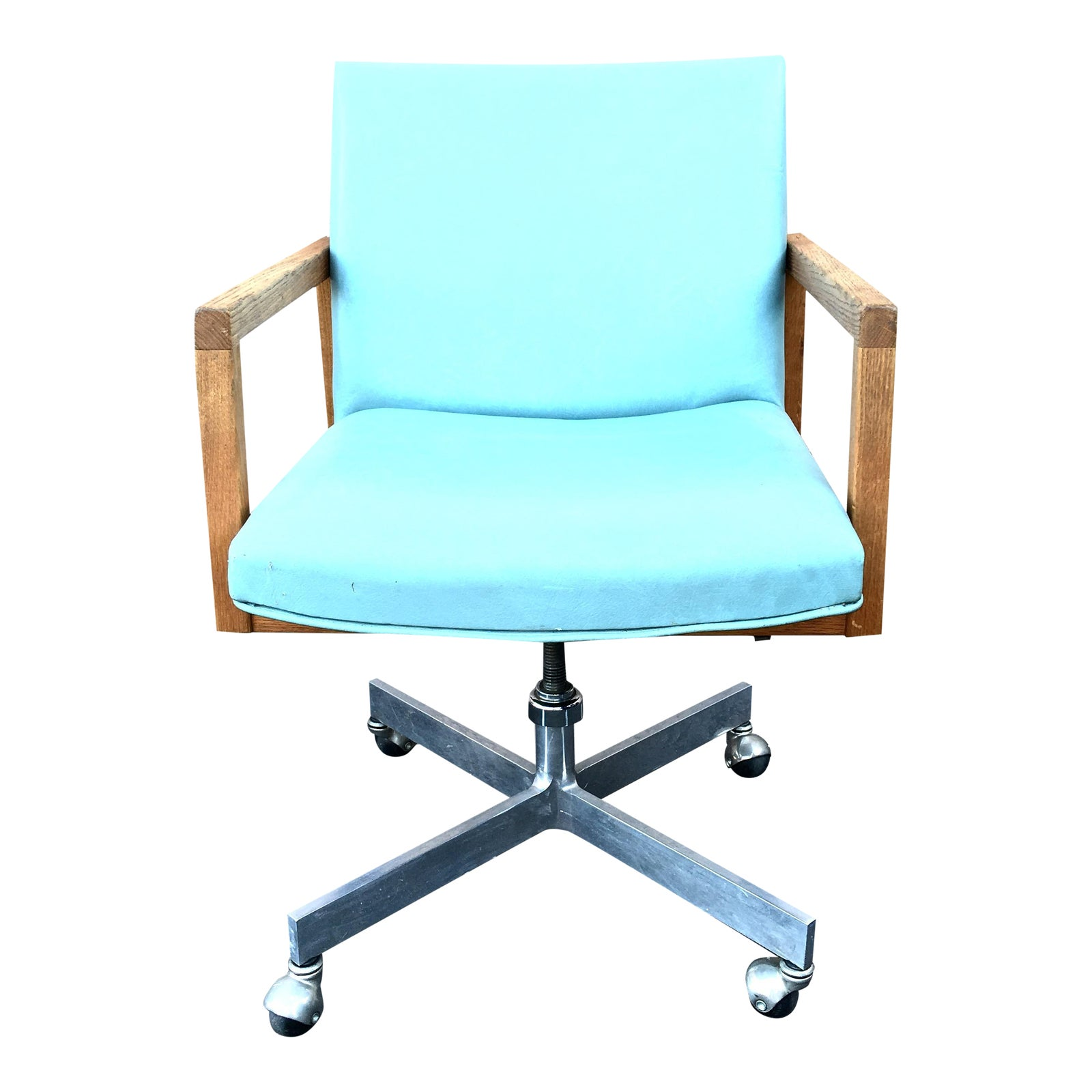 Mid century modern seafoam green office chair chairish