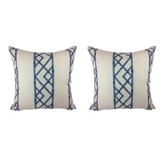 "Sarah Richardson ""Lattices"" in Ultramarine Pillows - a Pair For Sale"